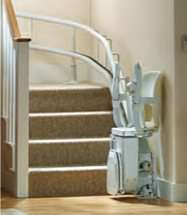 Stannah Siena stair lift for curved stairs. How to use, Step 7, chair, arm rests and foot rests fold away neatly