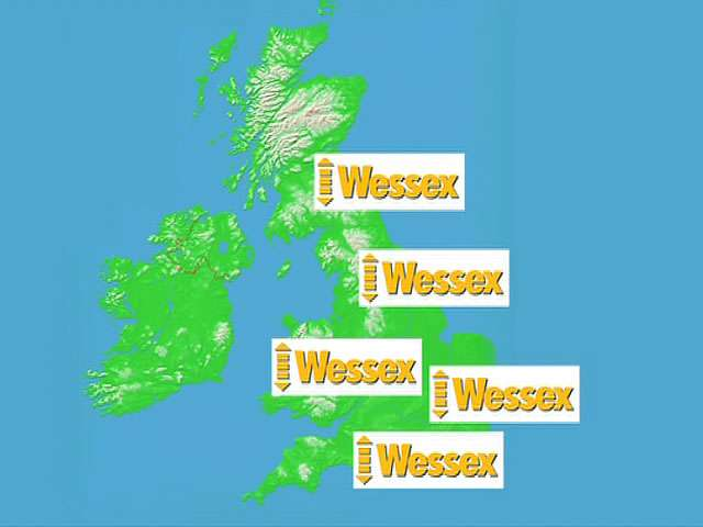 A map of the UK and Irelend with 4 Wessex Lifts Logos placed around the UK.