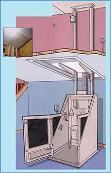 Wheelchair lift cross-section illustration