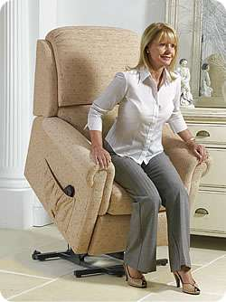 Rise recliner chair from Sherborne Upholstery in lift up position