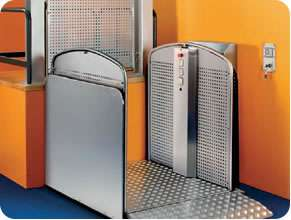 Silver wheelchair lift for commercial and business premises