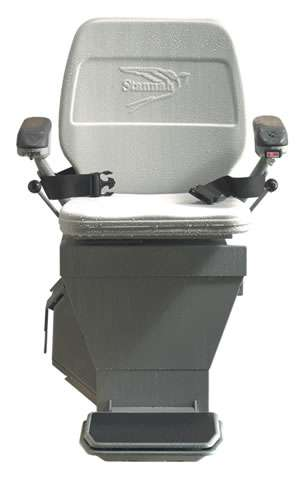 Photo of the front view of the Stannah 320 outdoor stair lift. No in-situ background.